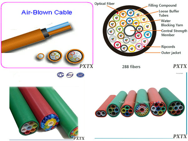 High Density 24 144 Core Air Blown Fiber Optic Cable For