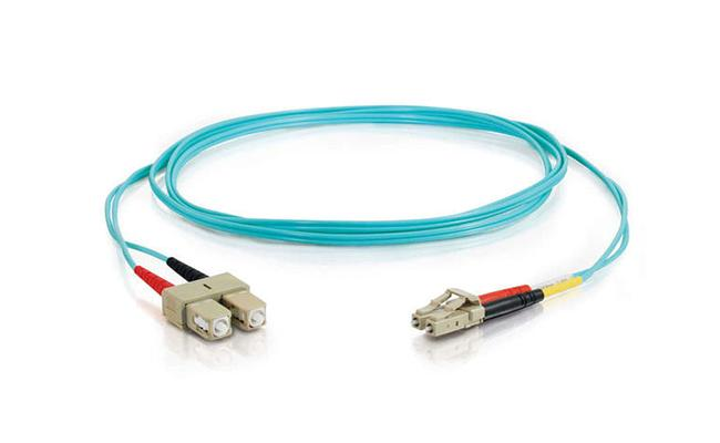 10G OM4 50 / 125 LC-SC Fiber Optic Patch Cord PVC / LSZH , Green
