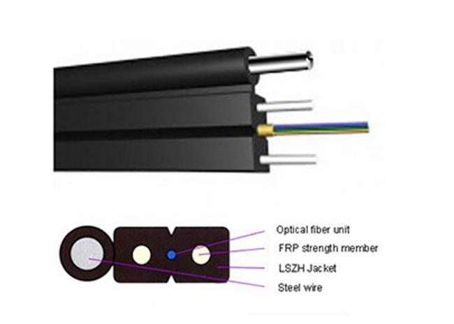 FRP Strength Member G657A2 Two Core FTTH Fiber Optic Cable LSZH Jacket