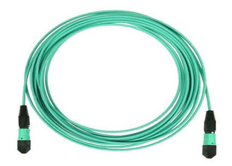 China MTP 24 Core Fiber Optic Patch Cord MPO Trunk Cable OM3 OM4 with Aqua Color supplier