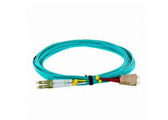 China 10G OM4 50 / 125 LC-SC Fiber Optic Patch Cord PVC / LSZH , Green supplier