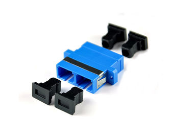 China SC SM Duplex Fiber Optic Adapter with Flange or Without Flange Blue supplier