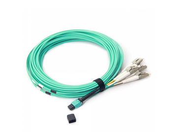 China 8 Core MTP-LC OM3 10G  50/125 Ruggedized Distribution Fiber Optic Patch Cord LSZH Jacket Round Cable supplier