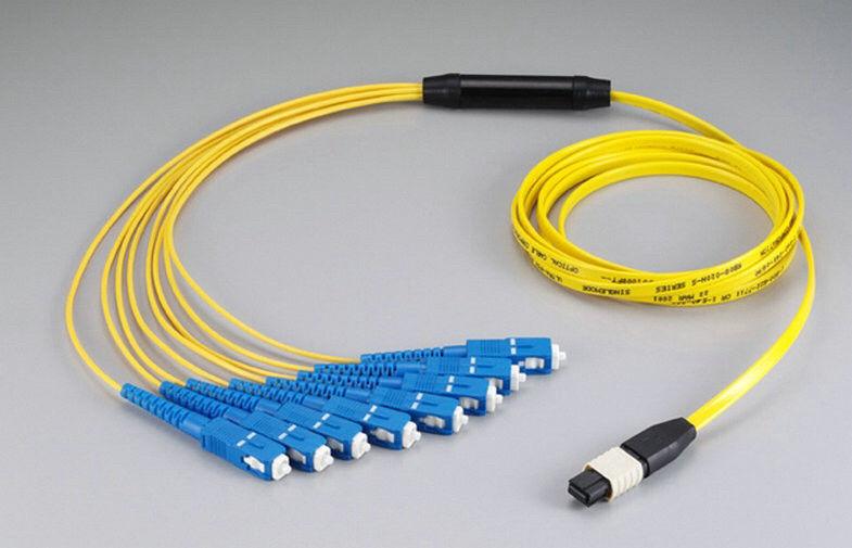 Multi Core MTP / MPO Fiber Optic Patch Cord LC To ST Fiber Cable